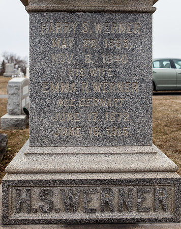 Harry S. Werner, 1889 - 1840 and his wife Emma R. Werner, nee Gerhart, 1872 - 1815.