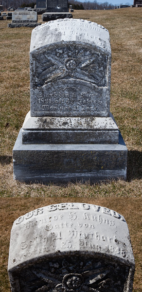 Head of stone reads: Monroe R.(?) Kuhns, ..... 25 Aug 1848. Bottom of stone reads: ... 6 _ 1891... Foot reads as head.