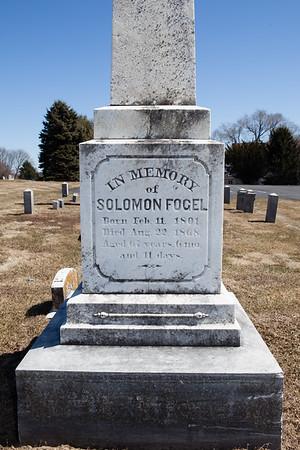 Solomon Fogel, Feb 11, 1801 - Aug 22, 1868. Husband of Anna Stahler.