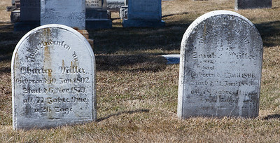 Left stone: Charles Weiller, 10 Jan 1802 - 6 Nov 1879. Right Stone: ___ Weiller ..... 1806 - ... 1885...