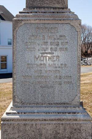 Father: Jonas Miller, June 22, 1817 - July 2, 1889.  Mother: Esther (Weiser) Miller, October 19, 1819 - Jan 20, 1890.