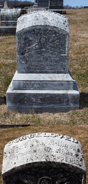 Head of stone reads: Sally _ Kuhns, ... 22 Sep 1834. Bottom of stone reads: ... 27 Feb 1919. Foot reads same as head.