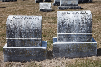 Left stone: Samuel Kuhns, Feb 25, 1822 - Feb 8, 1906. Right stone: Salome Kuhns, Oct 9, 1820 - Nov 3, 1873.