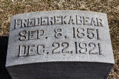 Frederek A Bear, Sep 8, 1851 - Dec 22, 1921.