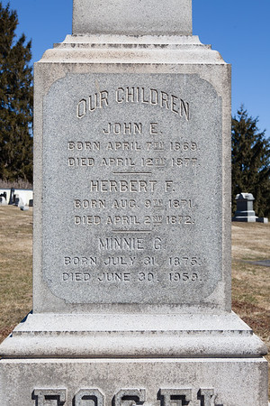 John E. Fogel, April 7, 1869 - April 12, 1877.  Herbert F. Fogel, Aug 9, 1871 - April 2, 1872.  Minnie G. Fogel, July 31, 1875 - June 30, 1959.