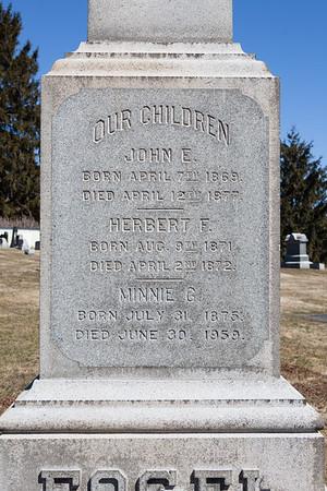 John E. Fogel, April 7, 1869 - April 12, 1877.  Herbert F. Fogel, Aug 9, 1871 - April 2, 1872.  Minnie G. Fogel, July 31, 1875 - June 30, 1959.