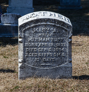 Mary A. Rupp, Apr 18, 1835 - Sep 6, 1894.  Wife of Herman Rupp.