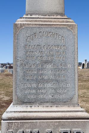 Our Daughter: Sallie A. Conrad, eb 12, 1849 - Dec 9, 1884.  Philip H. Fogel, Ph. D., Aug 14, 1880 - Mar 21, 1919.  Edwin M. Fogel Ph. D., May 29 - 1874 - Dec 16, 1949.