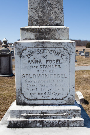 Anna (Stahler) Fogel, April 16, 1807 - Jan 28, 1885. Wife of Solomon Fogel.