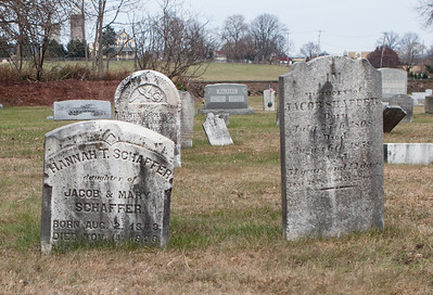 Left stone: Hannah T. Schaffer, daughter of Jacob & Mary Schaffer. Born Aug 2, 1843, died Nov 14, 1896. Right stone: Jacob Shaffer, born July 25, 1808, died August 6, 1859