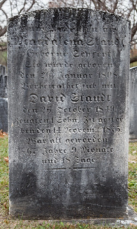 M (?) Staudt .... January 26, 1808 ... David Staudt ... October 25, 1849 ... November 14, 1875