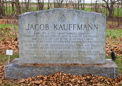 Monument in St. Michael's (old) Cemetery, reads: Jacob Kauffmann. Born Dec. 2, 1721 - Wurttemberg, Germany. Arrived in Philadelphia, PA., Sept 15, 1749 on the Phoenix. Immediately settled in the St. Michael's area. Died 1804 - Buried here with his wife Anna Maria Kauffmann. Jacob was a clerk, soldier, musician, farmer and miller. Charter member of St. Michael's Lutheran Church. Sons - Valentine, George, Joseph, Jacob, Philip and Adam all served in the Continental Armey in the Revolutionary War. Daughters - Anna Maria and Maria Apolina.