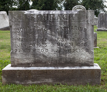 Tombstone of John Adam and Catharine (Nee Fox) Schrack. John's 3rd wife.  John Adam Schrack, 30 Mar 1847 - 20 Jan 1925, son of David and Sarah (Schaeffer) Schrack.  John had a daughter out of wedlock with Selisa Feick.  John's 1st wife was Susan Rudy with whom he had a son and daugther.  John's 2nd wife was Mary Knoll, with whom he had two sons.  John's 3rd wife was Catharine Fox,  13 Jun 1848 - 31 May 1920. They had no children together.