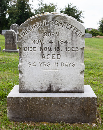 William Schaeffer, b. Nov 4, 1841, d. Nov 15, 1925. Son of Joel Schaeffer and Lydia Himmelberger. Husband of Sarah Heister. Father of Ella H. Schaeffer. (Joel is the th child (oldest sone) of John Schaeffer and his frist wife Sybilla Zeckman, the founder of New Shaefferstown.)