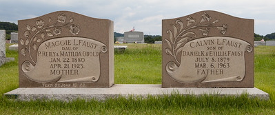 Left stone: Maggie Lacora (Obold) Faust, 22 Jan 1880 - 21 Apr 1923, daugther of P. Riley F. Obold and Matilda Brossman. Right stone: Calvin L. Faust 8 Jul 1879 - 6 Mar 1963, son of Daniel K. Faust and Etilla Elizabeth Catherine (Lamm) Faust. His second wife was Anna Rothrock.