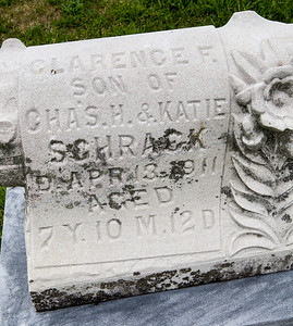 Tombstone of Clarance F. Schrack (died age 7, son of Charles and Katie)
