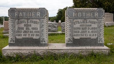 Daniel K. Faust 29 Jun 1852 - 22 Jul 1916, and Etillie Elizabeth Catherine (Lamm) Faust, 31 May 1856 - 4 Jul 1930.