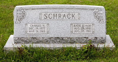 Charles Henry Schrack, 19 Dec 1877 - 31 Mar 1968, sone of John Adam and Susan (Rudy) Schrack. Husband of Katie L. Faust 28 Aug 1881 - 25 Aug 1961, daughter of Daniel K. and Etilla Elizabeth Catherine (Lamm) Faust. Together they had five sons, Clarence E., John Howard, Roy Daniel, Charles Alvin and Wayne Calvin.