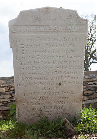 Catharina (Catherine) (nee Delp or Delb) Wartzluft.. 28 December 1788, married 9 October 1808 died 14 March 1862. Wife of Daniel Wartzluft.