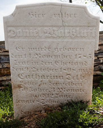 Daniel Wartzluft (Wartzenluft), 14 November 1785 - 21 Jan 1859. Married 9 October 1808 to Catharina Delb (Delp).