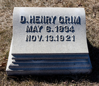 D. Henry Grim, May 6, 1834 - Nov 13, 1921.  Note: This stone is with to the 'Smith - Grim' monument.