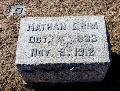 Nathan Grim, Oct 4, 1833 - Nov 9, 1912.  Note: this stone is with the Grim monument in Ziegel's Union Cem.
