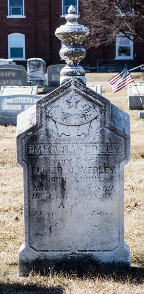 Emma H. (Kuhns) Werley, _____ 1869 - ___ 1894 (?).  Wife of Elmer J. Werley.
