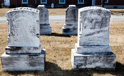 Left stone: Gideon Moatz, Aug 11, 1826 - Nov 12, 1900.  Right stone: Violette (Rehrig) Moatz, Jan 1, 1830 - Aug 6, 1912.
