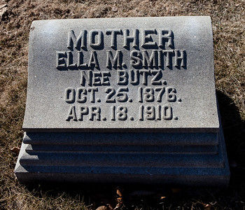 Mother: Ella M. (Butz) Smith, Oct 25, 1876 - Apr 18, 1810.   Note: This stone is with to the 'Smith - Grim' monument.