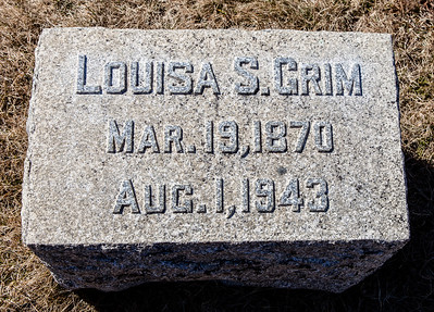 Louisa S. Grim, Mar 19, 1870 - Aug 1, 1943.  Note: this stone is with the Grim monument in Ziegel's Union Cem.