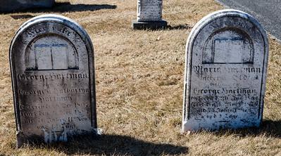 Left stone: George Hartman, Dec 8, 1807 - Nov 21, 1884. Son of George & Catharina Hartman.  Right stone: Maria Hartman, Jan 30, 1804 - Mar 4, 1809 (?)