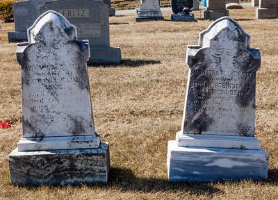 Left stone: Ann ____ Adams, ____ 1871 - Feb 3, 1893. Daughter of Nathan & Julia Adams  Right stone: Minnie Steinberger, Born Aug 19(?), 1875 - July(?) 19,1891(?). Daughter of Reuben Steinberger & Elenora Gehris.