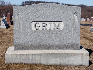 Grim monument in Ziegel's Uion Cemetery, Breingsville, PA.