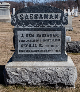 J. Sem Sassaman, Jan 1, 1845 - Dec 14, 1907.  Cecilia E. Sassaman, Oct 27, 1850 - Sep 4, 1927.