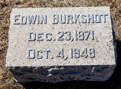Edwin Burkshot, Dec 23, 1871 - Oct 4, 1948.  Note: this stone is with the Grim monument in Ziegel's Union Cem.