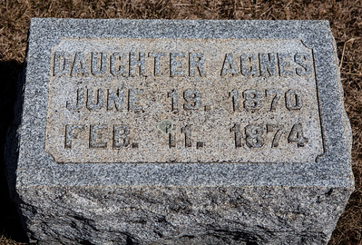 Daughter Agnes, June 19, 1870 - Feb 11, 1874.   With the stone for:  Eliza A. Grim, June 18, 1851 - Aug 12, 1928. and Matthias Grim, Aug 13, 1844 - May 17, 1920.