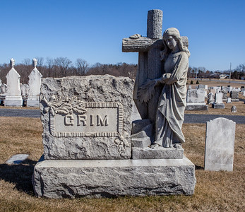 Grim monument in Ziegel's Union Cemetery, Breinigsville, PA.