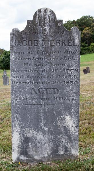 Jacob Merkel, son of Casper and Blantina (Blandina Hottenstein) Merkel. Jacob was born 21 Dec 1779, died 29 Dec 1850. He married Catharina Kerschner. Together their children were Elisabeth, Sarah, John, Maria, Samuel, Esther, Susanna, Hannah and Jacob.