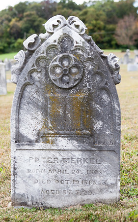 Peter Merkel, April 20, 1808 - Oct 19, 1865. Peter married Christina Yoder. Together their children were Susanna, Sarah A., John, Judith A., Willibi, Isaac Peter, Esther, and Lucy Ann Merkel.
