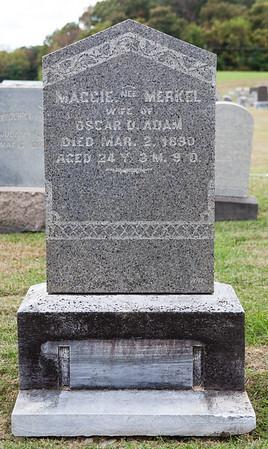 Maggie nee Merkel, wife of Oscar D. Adam, died Mar 2, 1890, age 24...