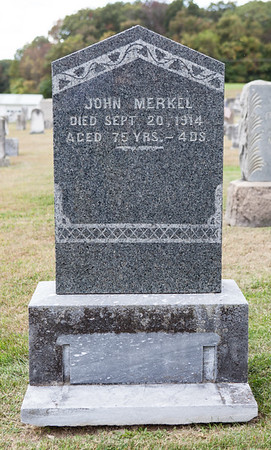 John Merkel, died Sept 20, 1914, age 75...  Married to Sallie.