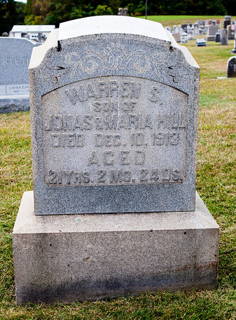 Warren S., son of Johas and Maria Hill, died Dec 10, 1913, age 21...