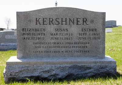 Daughter of John Kershner and Catharine Hartz Kershner: Elizabeth 1829 - 1915, Susan 1833 - 1913 and Esther, 1831 - 1916.