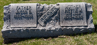 Jacob B. Deisher, Agu 30 - 1865 - April 5, 1938 and Hettie M. (nee Adam), 1870 - Jan 28, 1925.
