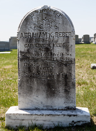 Abraham K. Reber, June 17, 1840 - April 25 (26?) 1879. Abraham's 1st wife was Catharine Hoffman, 2nd wife Caroline B. Keim.
