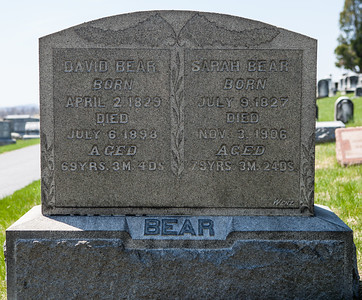 David Bear, 1829 - 1898 and his wife Sarah (Miller) Bear, 1829 - 1906. Their children were Sarah, Susan, Catherine, Mary A., Caroline, David, Emalina, and Benjamin M. Bear