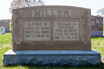 Left: Alfred S. Miller, 1848 - 1930, son of Isaac Miller and Hannah Sontag. Right: Sarah Amelia (nee Stump) Miller, 1847 - 1933, daughter of Nathan Stump and Elisabeth F. Miller. Their children were Lizzie L, Hannah Lorinda, Edward Nathan, Cora A., and Annie E. Miller.