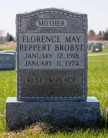 Florence May (nee Reppert) Brobst, 1818 - 1974, daughter of Thomas Peter Reppert and Salena M. Rothermel.