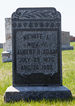 Nevate (Nevada) (nee Adam), wife of Albert R. Adam. 1876 - 1902, their children were Herbert Benjamin and Elsie Nevada Adam.