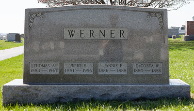 Werner: Thomas A. 1884 - 1967, Wert H., 1881 - 1956, Jannie E. 1886 - 1888, and DeCosta W., 1880 - 1886.
